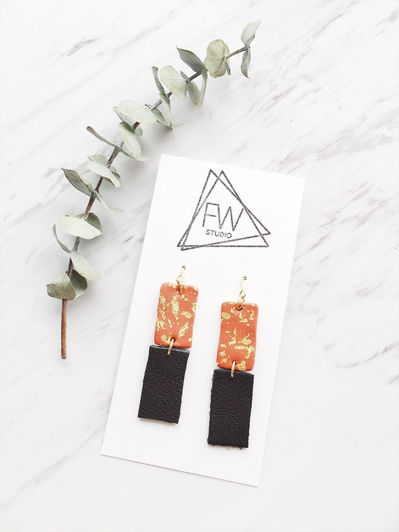 Clay + Leather Drop Earrings, Copper, Black + Gold