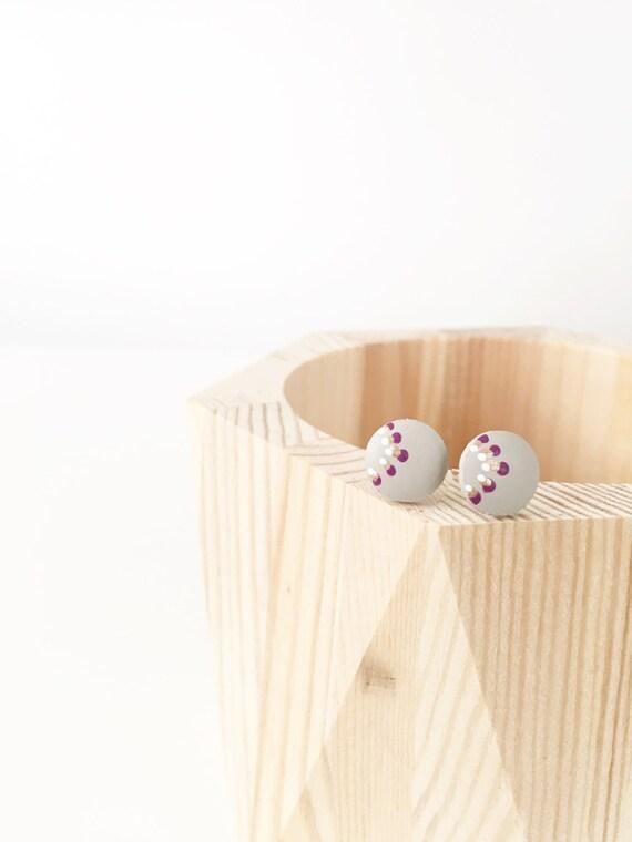 Wood Stud Earrings, Grey, Purple, White + Bronze