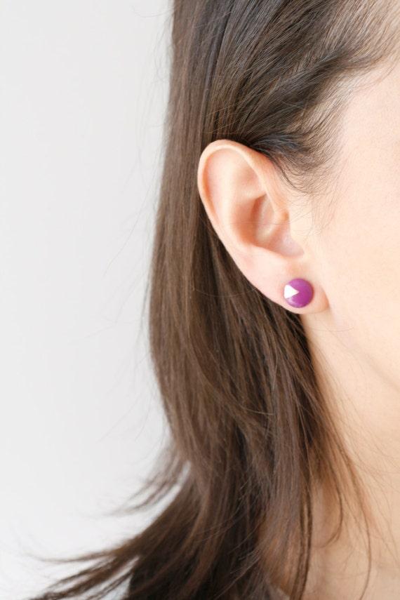 Wood Stud Earrings, Purple + Gold