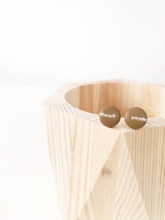 Wood Stud Earrings, Brown, Grey + Bronze
