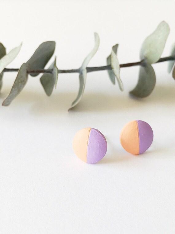Wood Stud Earrings, Lilac + Coral