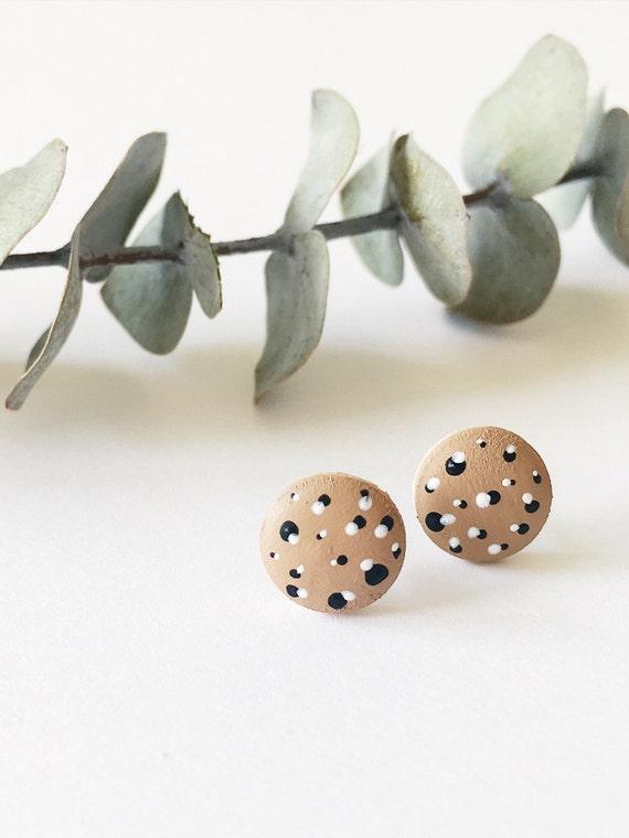 Wood Stud Earrings, Tan, White and Black