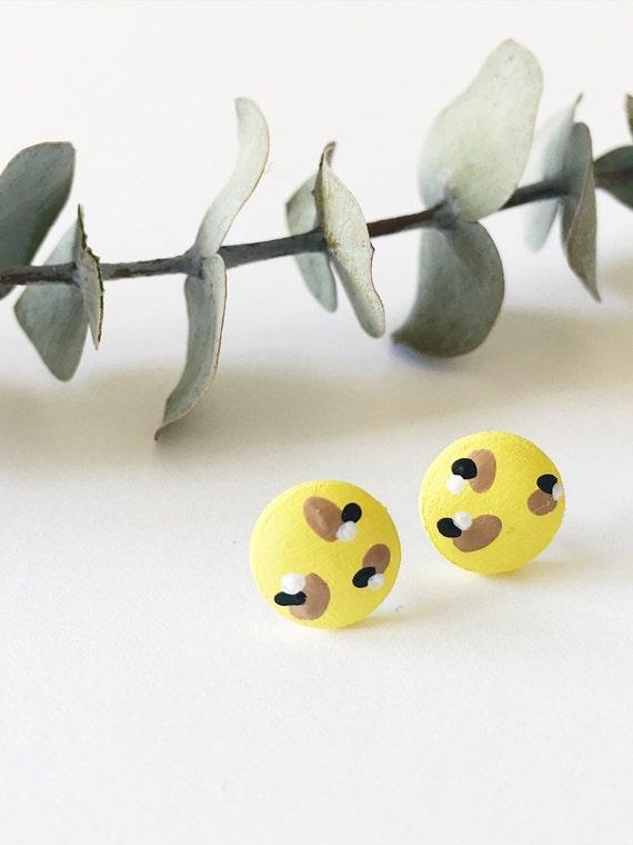 Wood Stud Earrings, Yellow, Black, Tan + White