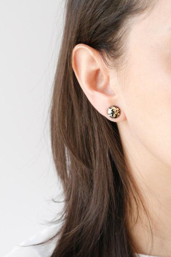 Wood Earrings, Black and Gold Leaf
