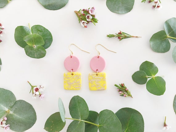 Clay Drop Earrings, Yellow, Pink + Gold