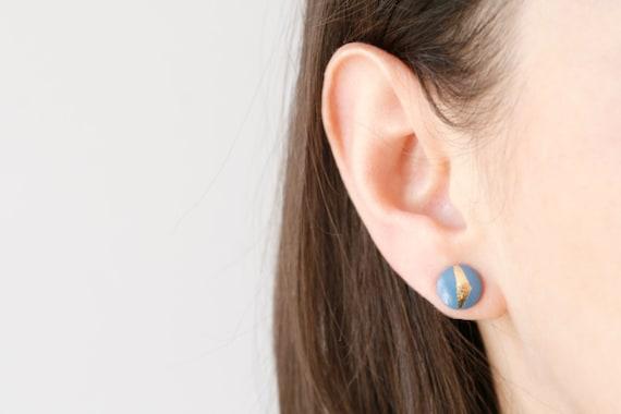 Wood Stud Earrings, Blue + Gold