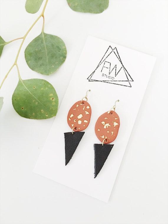 Clay + Leather Drop Earrings, Pumpkin Spice, Black + Gold