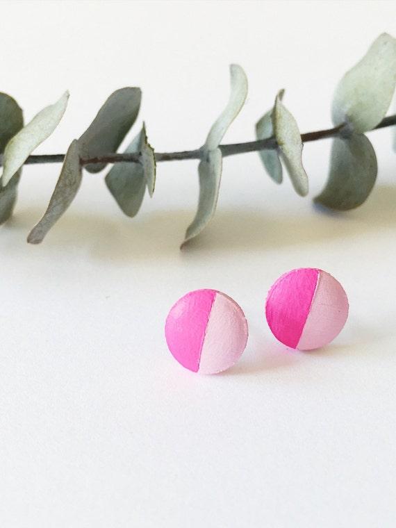 Wood Stud Earrings, Magenta + Light Pink