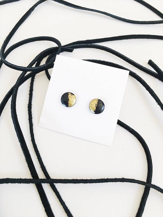 Wood Stud Earrings, Black + Gold