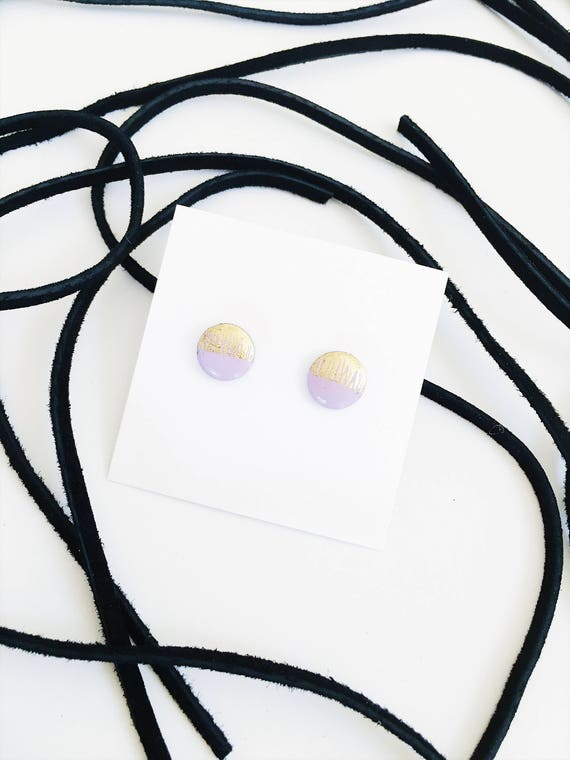 Wood Stud Earrings, Lilac + Gold