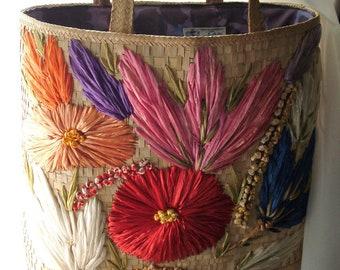 Antique straw tote~hand bag~purse~made in Bermuda~1950's~mid century~raffia flowers~kitschy~tropical~vintage beach