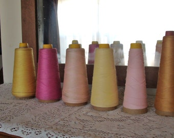vintage thread cone spools~set of 6~pinks~yellows~1950s~Capitol Thread~American Thread Co~Plymouth~craftcore~sewing room~DIY~craft room