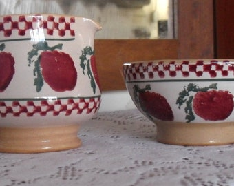 Nicholas Mosse pottery~sugar and creamer set~made in Ireland~1980s~1990s~apples and gingham pattern~country kitchen~cottagecore