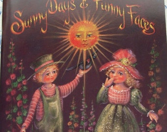 Vintage Sunny Days and Funny Faces folk art paint pattern book by Jo Sonja and David Jansen~1994~60 pages~color photos~Autumn crafts