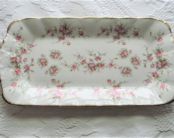 """Paragon Victoriana Rose gold trimmed platter~6"""" wide x 12"""" long~vanity~dessert tray~made in England~1980s~cottagecore~fairytalecore~coquette"""