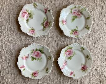 Ohme Silesia pink rose cabinet~dessert plates~1900s~1920s~white porcelain~hand painted~gold trim~scalloped rim~cottagecore~coquette~feminine