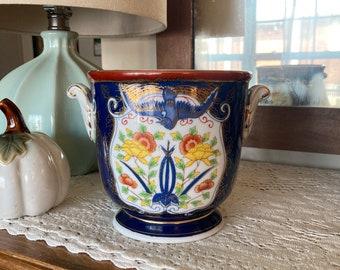 """Ethan Allen RARE Vista Alegre cachepot~1980s~porcelain planter~5"""" tall~bird~yellow~pumpkin flowers~green leaves~gold detail~navy blue white"""