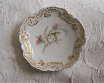 """Limoges 5-1/2"""" cabinet plate with pink clovers and gold trim~late 1800's~Elite~made in France~display plate~Limoges collector~antique plate"""