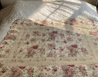 """Pale yellow pink roses stitched~quilted blanket throw~double sided~48-1/2"""" x 57-1/2""""~quilted throw~cottagecore~coquette~feminine~girls room"""