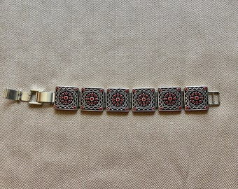 """retired signed Brighton square link bracelet with red accents~8-1/4"""" long~square links 3/4""""~silver plated bracelet~Brighton jewelry~mom gift"""