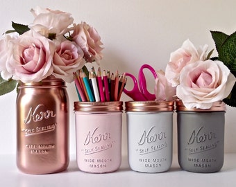Blush Dorm Decor - Pink Copper / Painted mason jar - pencil holder- Vase - Centerpiece / set of 4 / Editor's Pick