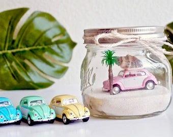 Summer Decor / Dorm Decor / DIY Craft supplies / Terrarium / VW Bug / WV Beetle / Beach home decor / Beach Car in  Jar / Mason Jar