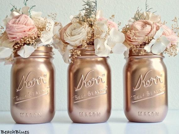 Rose Gold Mason Jar Wedding Centerpiece Metallic Painted Etsy