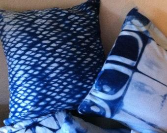 "Shibori pillows w/ removable covers 18"" square w/ zipper - hand dyed Indigo block print and tie dye"