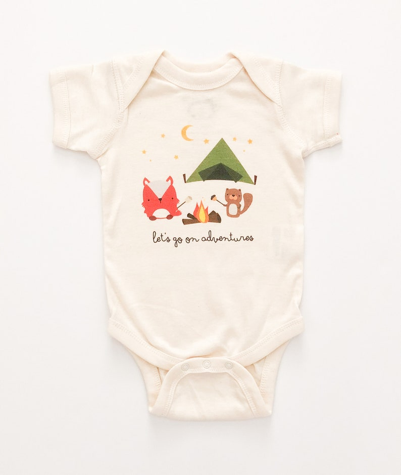 1087687b2 Adventure Fox Camping Baby Cute One Piece Romper | Etsy