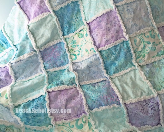 Rag quilt throw pastel batiks in soft aqua green yellow and ivory rag quilt 63x63 beachy shabby quilt