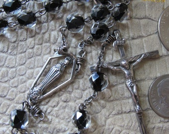 AFCO Clear Crystal over Black Glass Sterling Silver Rosary Prayer Beads. AFCO NY 20th Century Rosary. 5 Decade Catholic Rosary. Fine Quality
