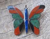 Inlaid Gemstone Hardstones Set 950 Silver, Handmade Native American Indian Brooch Pin, or Pendant. Lapis Lazuli, Black Onyx, Jasper, Green