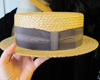 4d9ca9c3084a2 Men s Straw Boater Hat. Florence Italy Handcrafted Spring SS19 Summer  Fashion Hat. Classic Timeless Gent s Fashion Accessory. Size 7 1 8
