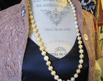 c1fa964edae YSL Rive Gauche Pearl Necklace, Yves Saint Laurent Costume Pearls.80's YSL  Designer Signed Jewelry. Classic Costume Fashion PEARL Rope Beads
