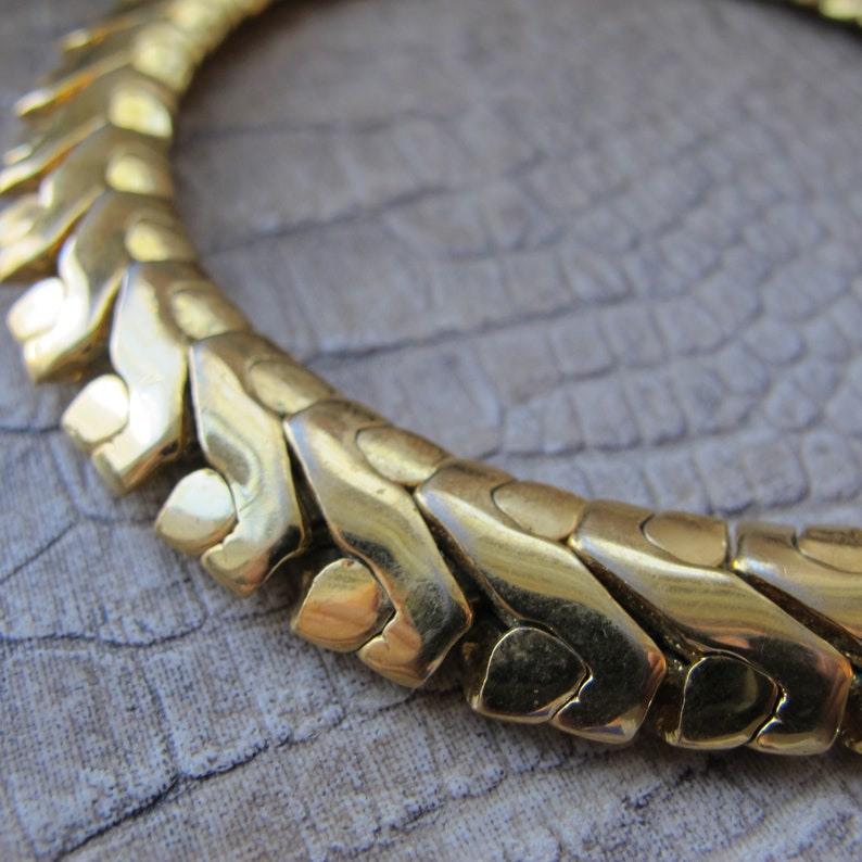 Deco Retro Link Serpentine Napier Designer Signed Gold Finish Chain Necklace Designer Chunky Chains.Gold Plated Art Deco Style Chain Collar