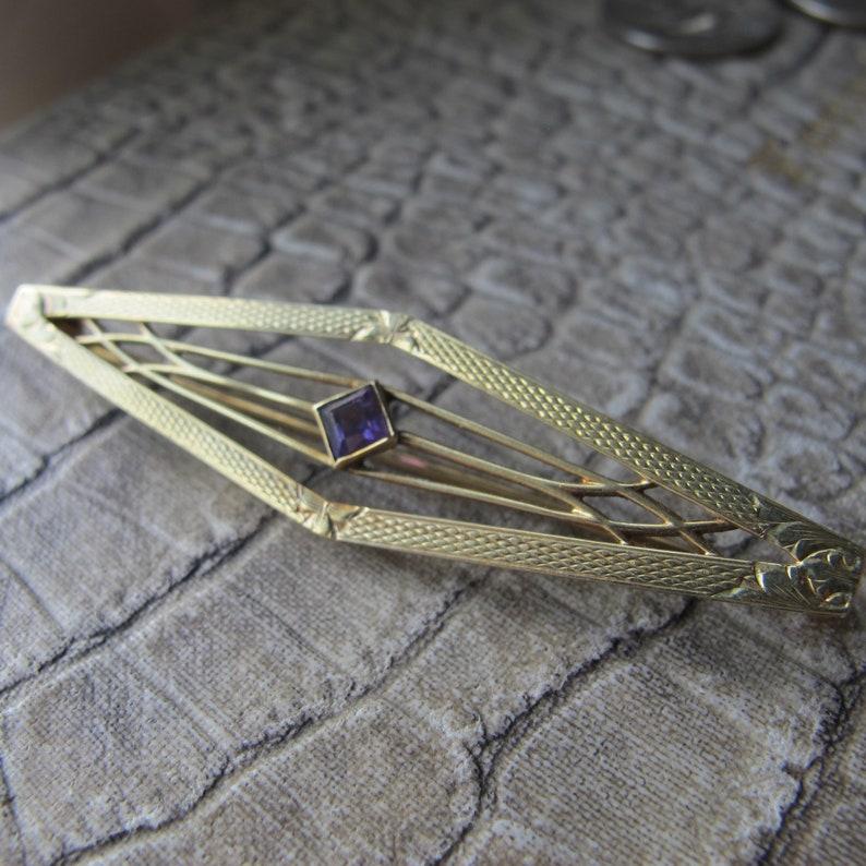 Brooch Estate 14 Karat Yellow Gold 14k Yellow Gold /& Amethyst Antique Bar Pin Signed on Latch Art Nouveau Collar Pin Brooch Makers Mark