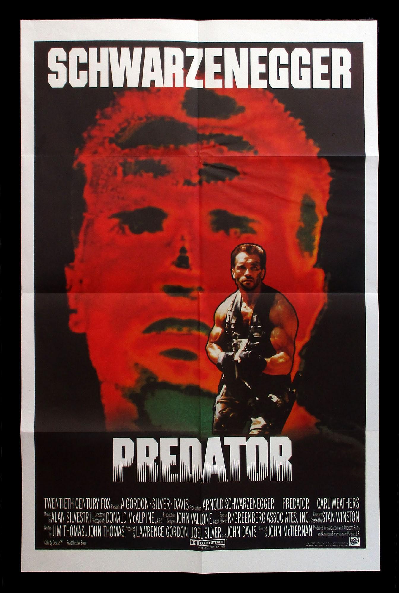 PREDATOR original 1987 UK movie poster SCHWARZENEGGER | Etsy
