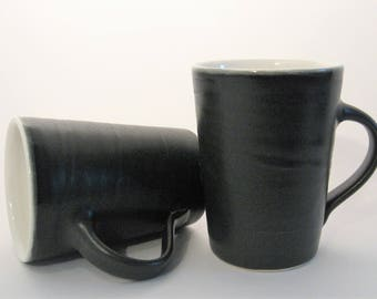 Black and White Coffee Mug, Black and White Glazed Cup