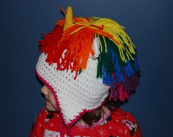 Unicorn Crochet Hat with Rainbow Hair and Earflaps
