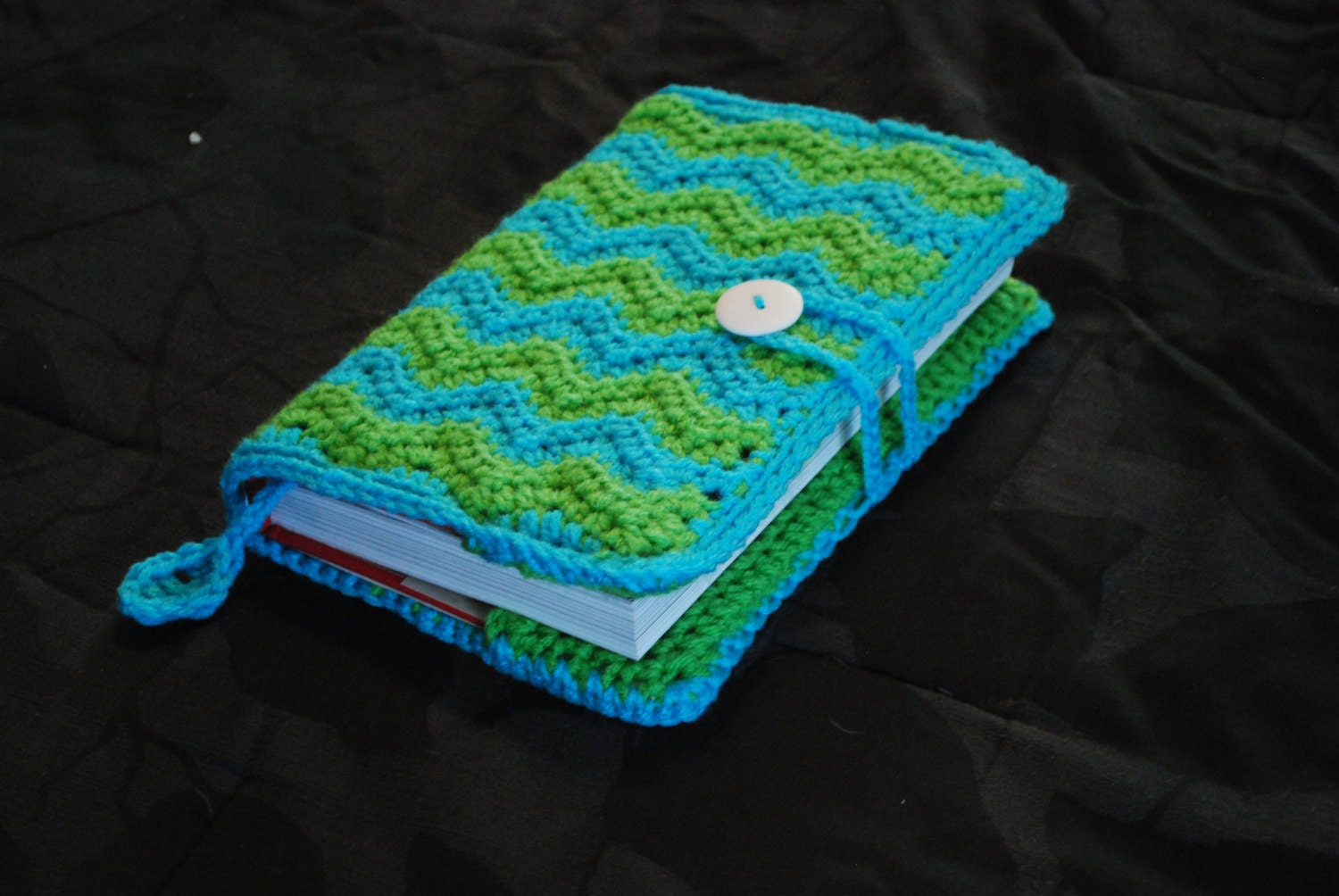 Free Crochet Paperback Book Cover Pattern ~ Crochet book cover chevron pattern with loop and button etsy