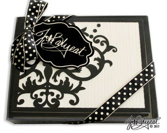 Damask Note Cards - Flocked - Note Cards - Boxed Set of 8