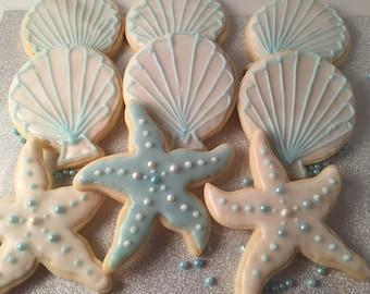 Beach themed Sugar cookies. Starfish, Jellyfish, Seashells, & Sand dollars..