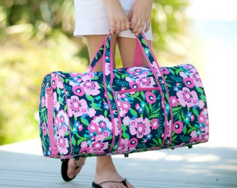 d95a313e8c Personalized Navy Pink Floral Duffel Bag- Posie Flower Duffel Bag- Travel  Bag-Monogrammed Travel Bag