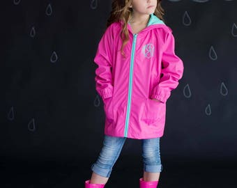 Personalized Hot Pink and Mint Kid's Rain Jacket- Monogram Rain Jacket