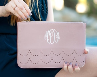 Personalized Pink Leather Clutch Purse- Blush Ava Clutch-Zipper Clutch-Monogram Clutch-Leather Bag