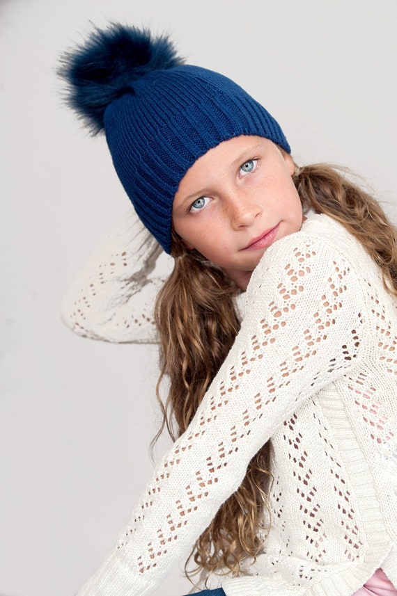 Personalized Navy Girl s Winter Hat Monogrammed Knit Hat  92ecd1e54cdf