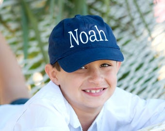 Personalized Navy Monogrammed Kid's Baseball Cap- Monogrammed Navy Hat