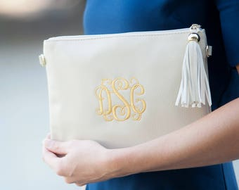 Personalized Leather Cream Crossbody Purse- Creme Kendall Crossbody Bag-Monogrammed Cross Body-Leather Bag