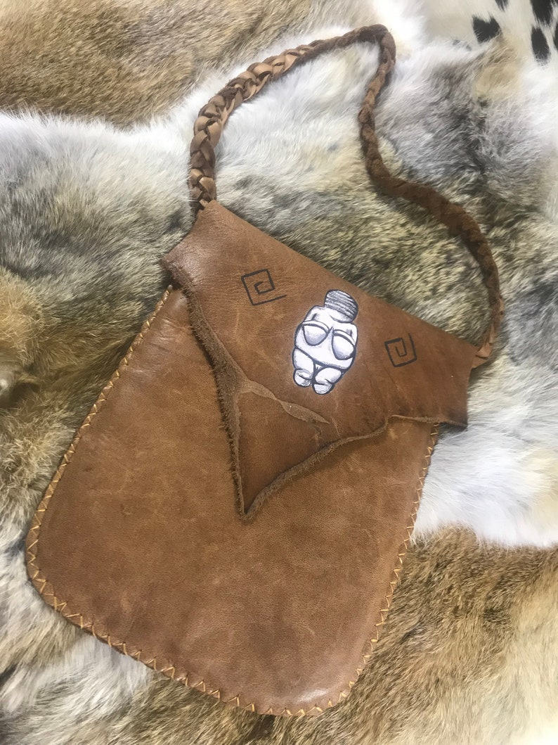 Medicine Pouch - Great Earth Mother - Goddess Venus Doni - handmade leather  earth pagan native shaman magic