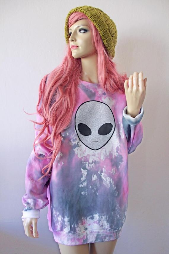 Silver Alien Space Tie Dye Jumper grunge oversized 90s cyber tumblr